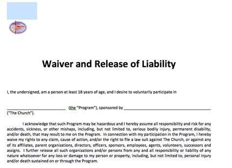 waiver  release  liability adult  methodist