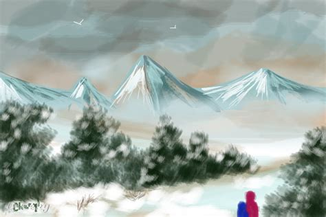 Snow Mountain ← A Landscape Speedpaint Drawing By
