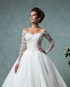 new lace long sleeve wedding dress 2016 vintage tulle off With off the shoulder long sleeve wedding dress