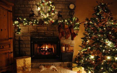 Christmas Living Room Scene White Table Lamp Blue