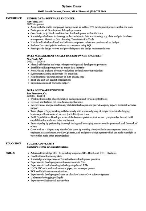 data software engineer resume samples velvet jobs
