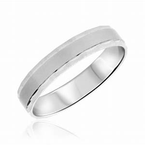 No DiamondsTraditional Mens Wedding Band 10K White Gold