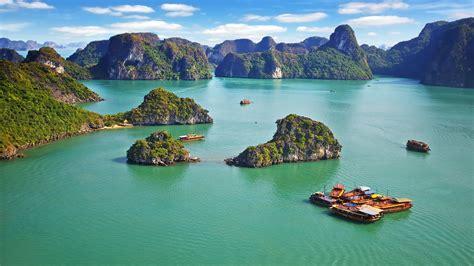 wallpaper ha long bay vietnam mountains sea  nature