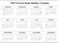 Editable Free Bank Holiday 2019 Victoria Calendar