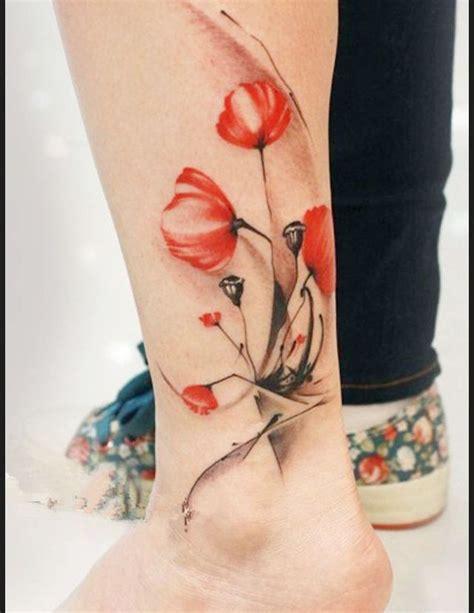 Vanité Signification by Tatouage Cheville Couleur Coquelicot Tattoos Tatouage