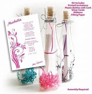 invitation in a bottle bottle sweet 15 invitations kit With wedding invitations in a bottle kits
