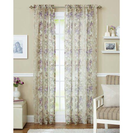 walmart sheer curtains better homes and gardens roses sheer curtain panel