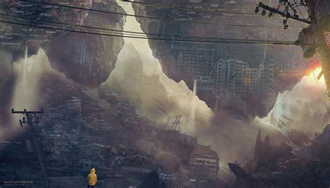 artwork apocalyptic cityscape morning anime kuldar