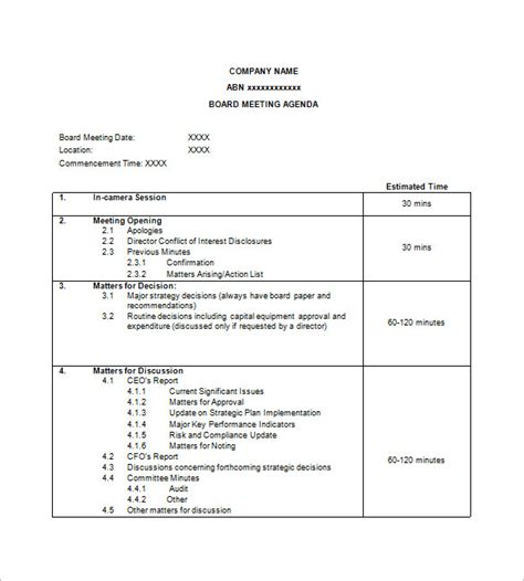 time agenda template word simple agenda template 8 free word excel pdf format