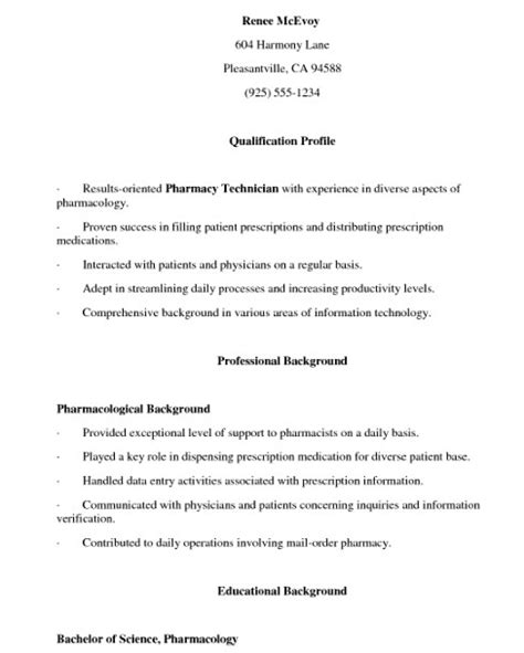 entry level pharmacy technician resume sle resume format