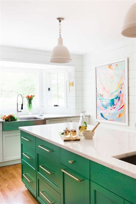 green kitchen island colored kitchen cabinets inspiration the inspired room