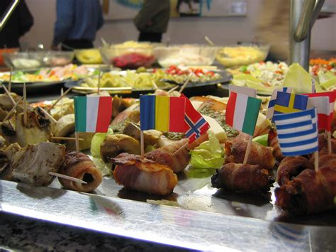 international cuisine paper flags in some of the
