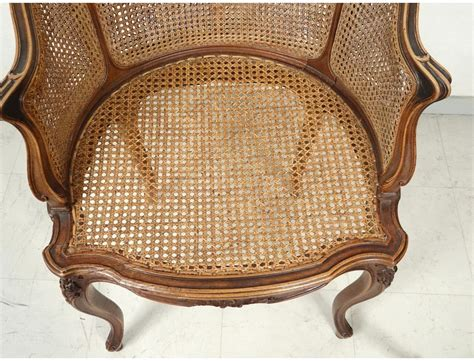 fleur de bureau office chair caned louis xv carved walnut shells flowers