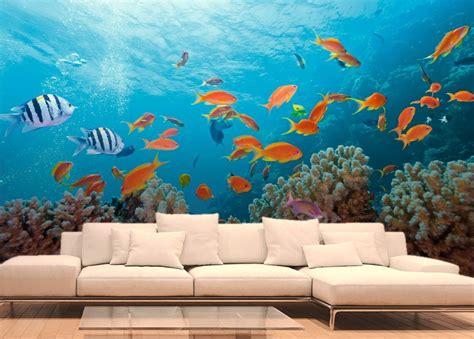 deco chambre noir et blanc poissons exotiques et coraux papier peint fonds marins