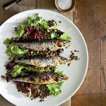 grilled sardines  beluga lentils recipe myrecipescom