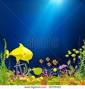 Ocean Underwater Cartoon. Coral Vector & Photo   Bigstock