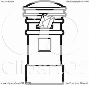 Clipart of a Black and White Mailbox with Envelopes ...