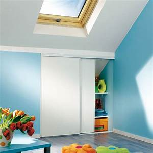 portes de placard coulissantes blanc veine 120 x 120 With porte de douche coulissante avec amenagement salle de bain dans les combles