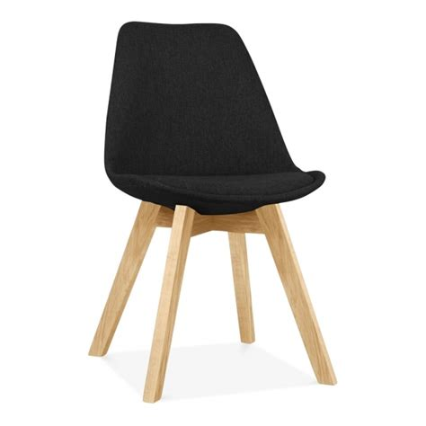 scandi designs black upholstered dining chair  cross leg cult uk