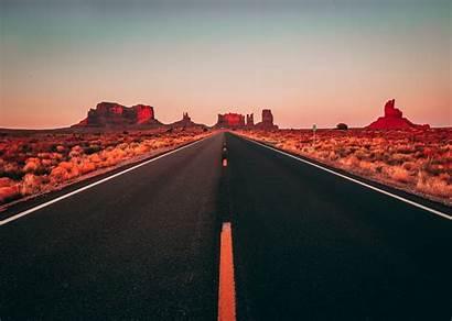 Road Usa Desert Clear Sky Asphalt Flare