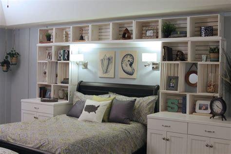 home design cool white built  shelves  bed