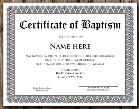 Baptism Certificate Template Pdf 14 baptism certificate templates sles exles