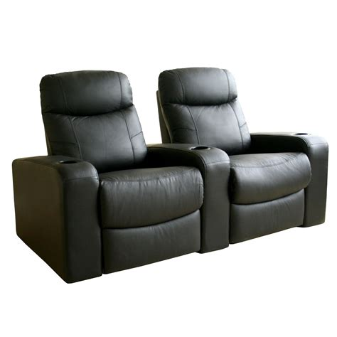 baxton studio angus leather home theater recliner set of
