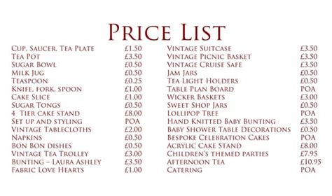 price list template word excel formats
