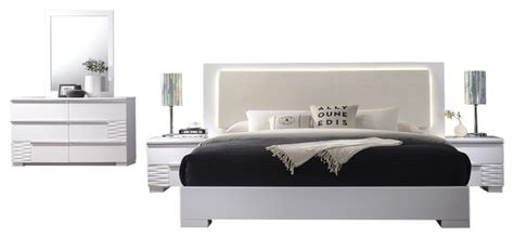 athens white lacquer  piece platform modern bedroom set