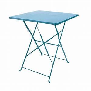 Table Pliante Metal : table pliante de jardin en m tal bleu canard l 70 cm ~ Teatrodelosmanantiales.com Idées de Décoration