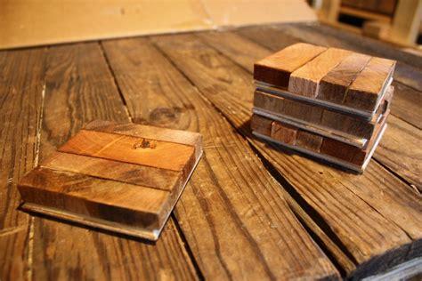 Custom Reclaimed Wood Butcher Block Style Coasters (set Of