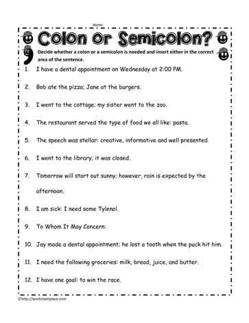 semicolon worksheets the large and most comprehensive