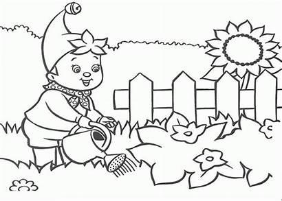 Coloring Garden Watering Boy