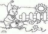 Coloring Garden Pages Watering Flowers Boy sketch template