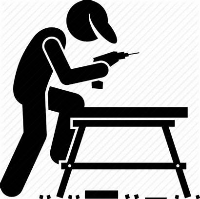 Carpenter Icon Worker Woodwork Woodworking Drill Icons