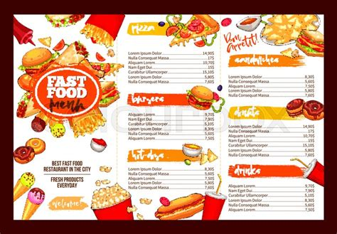Fast food restaurant menu template. Lunch dishes and drinks list with prices and burger, pizza