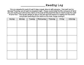 monthly reading log calendar rubric genre code guide tpt