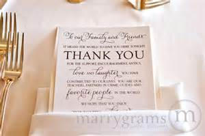 thank yous on wedding programs reception table setting custom thank you card thin style
