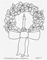 Wreath Coloring Candle Bow sketch template