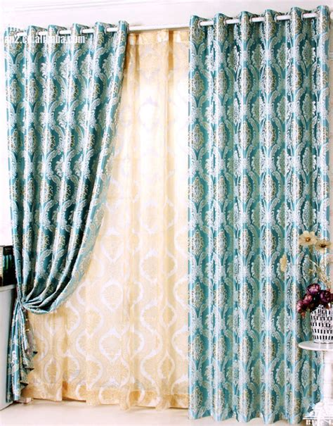 buy wholesale blue patterned curtains from china