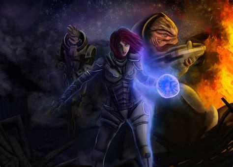 Mass Effect Fanart Shepard Garrus And Grunt By Luh