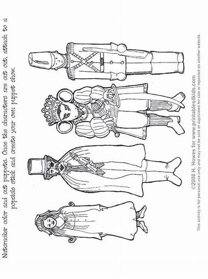 Nutcracker Coloring Pages Ballet Puppets Crafts Christmas