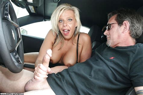 Slutty Blonde Milf With Big Tits Gives A Handjob In The