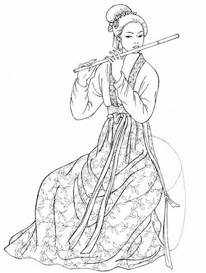 Tang Coloring Dynasty Chinese Clothing Pages Traditional
