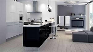 charmant cuisine noire laquee nouveau design a la maison With meuble cuisine blanc laque 12 cuisine en chene laque grise meubles lebreton