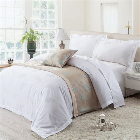 royal hotel bedding romantic white solid pure color bird feather print 5 star royal hotel full queen size bedding