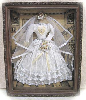 wedding gown shadow box home decor wedding dress
