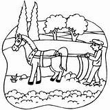 Plow Coloring Horse Plowing Horsedrawn Colouring Farm Tractor Printable Sketch Template Freeprintablecoloringpages Colori sketch template