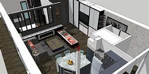 Cuisine ouverte sur salon 30m2 9 plan salon cuisine for Cuisine ouverte sur salon