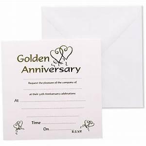 golden anniversary invitations envelopes partyramacouk With golden wedding invitations wording uk